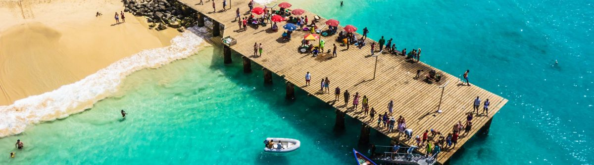 Aerial view of Santa Maria beach in Sal Island Cape Verde – Cabo