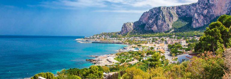 Panoramic view on Mondello bay in Palermo, Sicily.