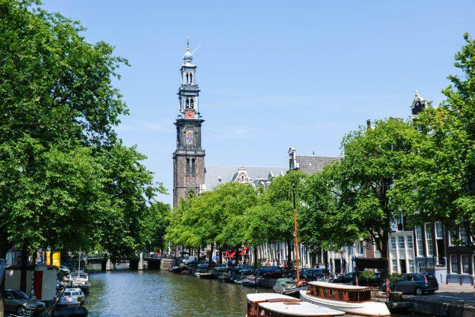 The view on the bell tower named Westertoren of Westerkerk shutterstock_148677704-2