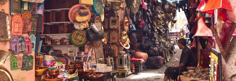 View of a stall at main bazaar in Marrakech, Morocco shutterstock_235504540-2