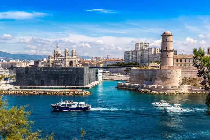 Saint Jean Castle and Cathedral de la Major and the Vieux port in Marseille, France shutterstock_322604492-2