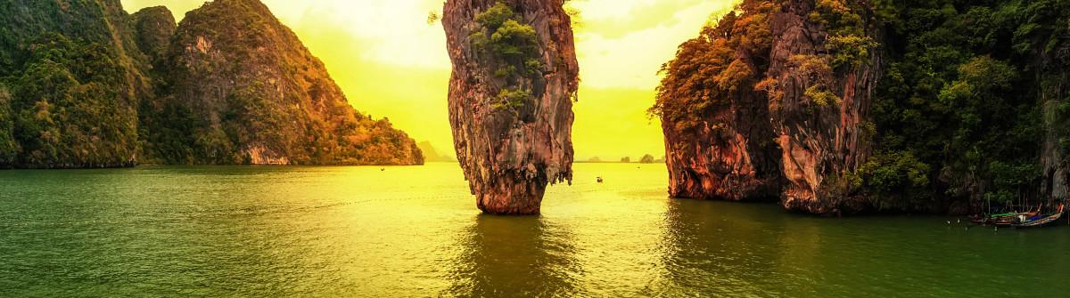 James Bond island sunset panoramic photography. Famous travel de
