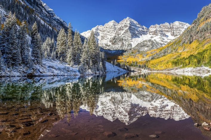 winter and Fall foliage at Maroon Bells, CO