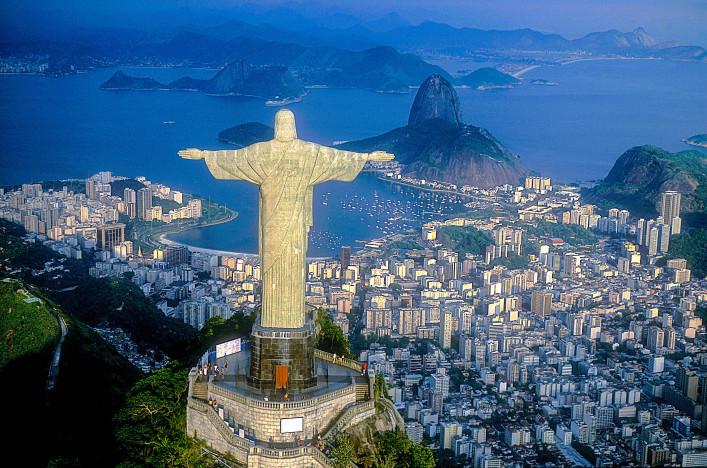 Aerial view of Christ, Sugarloaf,  Rio de Janeiro, Brazil