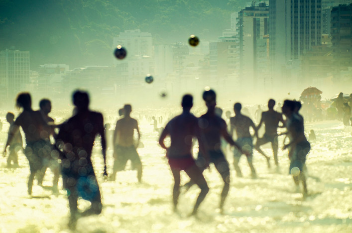 Brazilian People Playing Football Soccer Rio de Janeiro Beach
