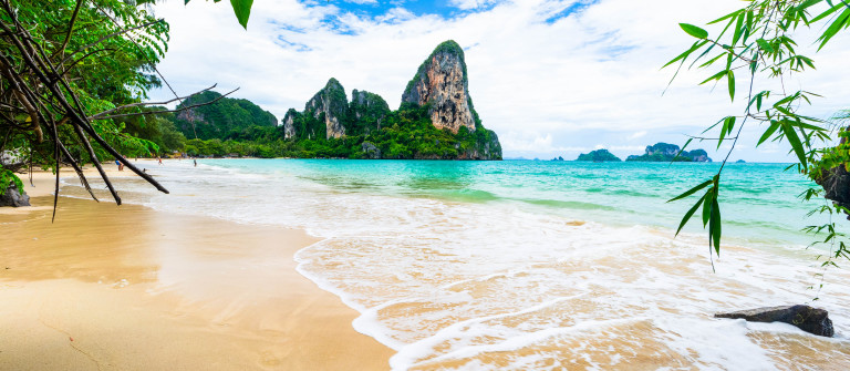 Scenic beach and Andaman sea in Railey Bay, Thailand
