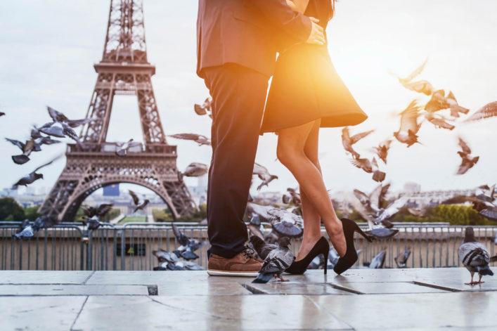 couple near Eiffel tower in Paris