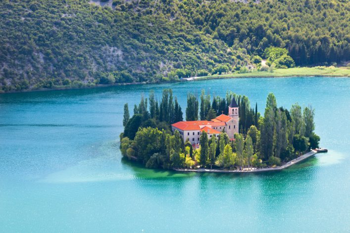 visovac-christian-monastery-on-the-island-in-the-krka-national-park-croatia-aerial-view_shutterstock_460032256