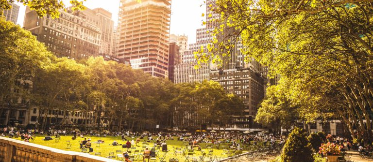 People chilling in Bryant Park, New York