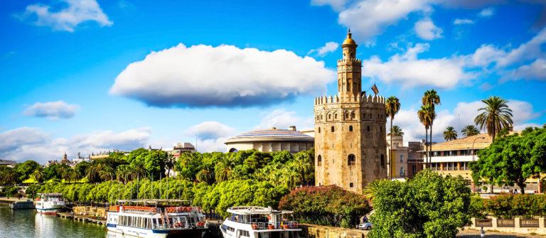 Golden tower (Torre del Oro) along the Guadalquivir river, Sevil