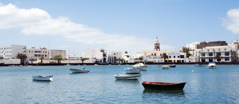 laguna with boats in the center of Arrecife, Lanzarote