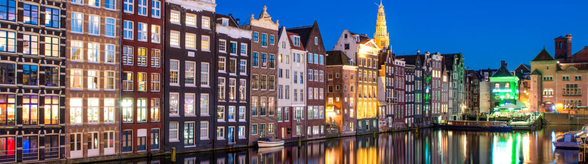 Night city view in Amsterdam, Netherlands.