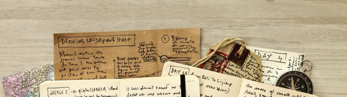 Handwritten travel diary, drawing journal storytelling, memories, souvenirs, adventurous journeys