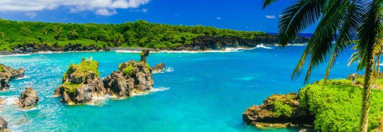 Spectacular ocean view on the Road to Hana, Maui, Hawaii.