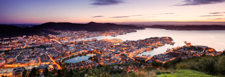 Bergen skyline from above during sunset