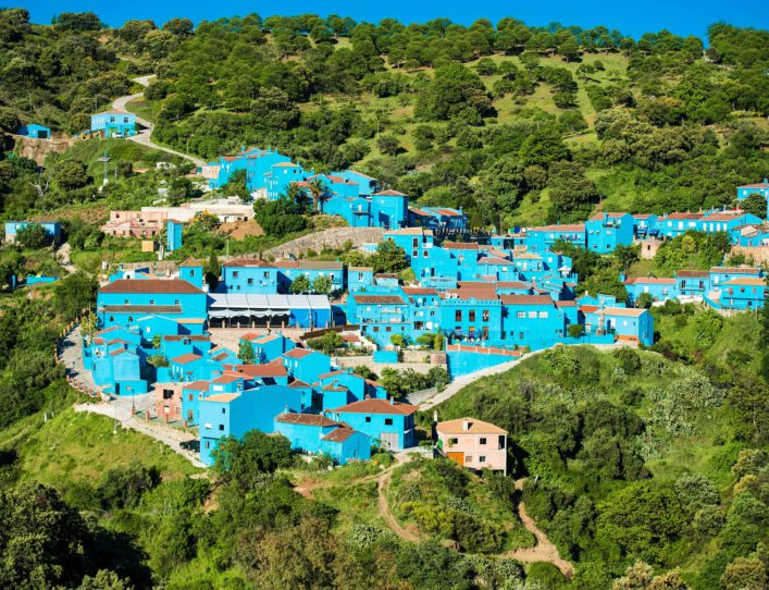 Juzcar, a village with blue buildings in Andalusia Malaga